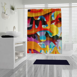 Dragons Near Abstract Shower Curtain