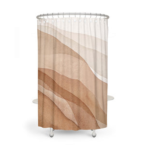 Modern Beige Watercolor Abstract Shower Curtain