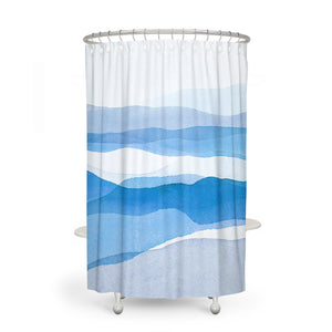 Modern Blue Watercolor Abstract Shower Curtain