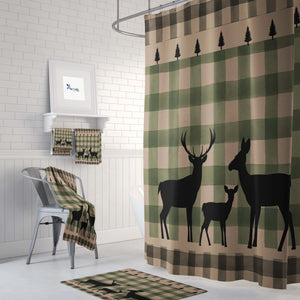 Rustic Green Plaid Shower Curtain Deer Bathroom Decor