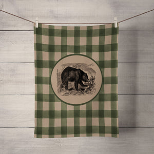 Rustic Plaid Bear Shower Curtain Optional Bathroom Set, Green Buffalo Plaid