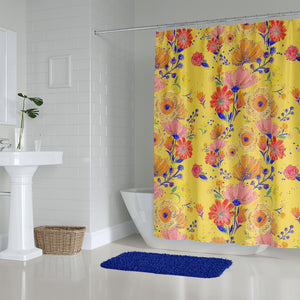 Yellow Floral Shower Curtain and Bath Mat Towel Options
