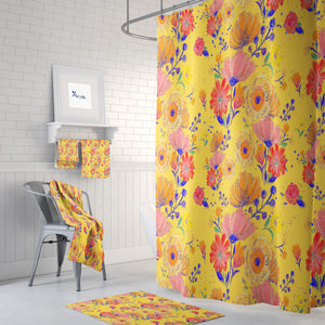 Mexico Floral Yellow Shower Curtain Bathroom Decor