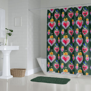 Mexicana Hearts Shower Curtain Bathroom Decor