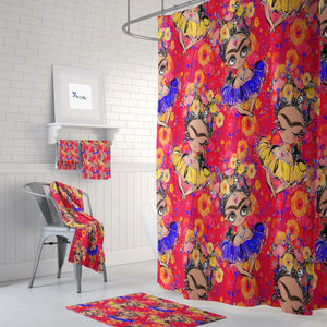 Orange Sugar Skull Shower Curtain Bathroom Decor Frida Design