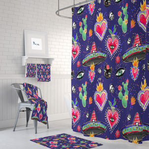 Purple Mexicana Hearts Shower Curtain Bathroom Decor