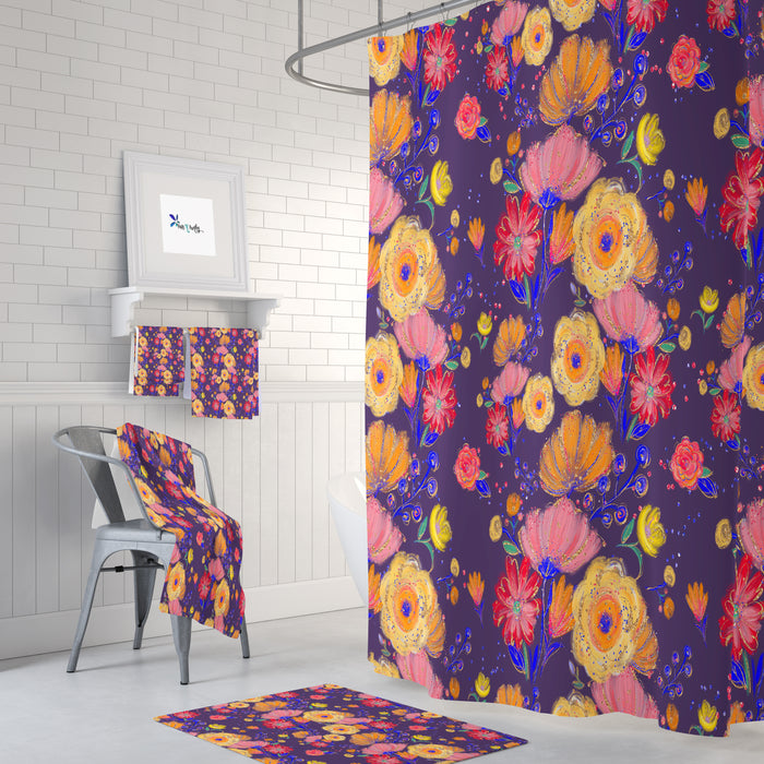 Purple Floral Shower Curtain Bathroom Decor