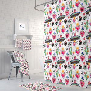 Yellow Mexicana Hearts Shower Curtain Bathroom Decor