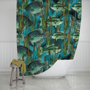 Fishing Hole Lodge Bathroom Decor Shower Curtain and Bath Accessories