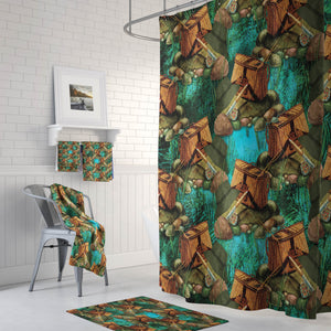 Fishing Gear Lodge Bathroom Decor Shower Curtain and Bath Accessories