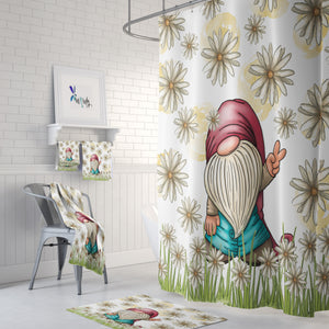 FolkNFunky Boho Peace Gnome Shower Curtain