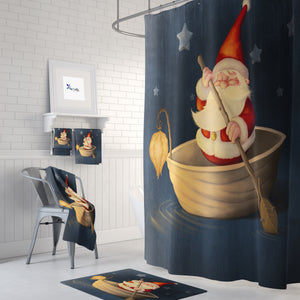 Whimsical Santa Shower Curtain Christmas Bathroom Decor