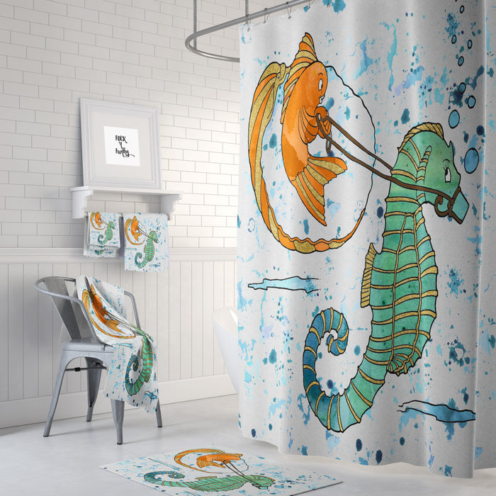 Thanks For The Ride Seahorse Shower Curtain