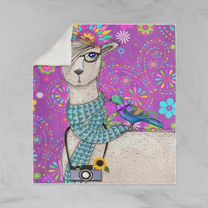 Purple Llama Sherpa Fleece Blanket
