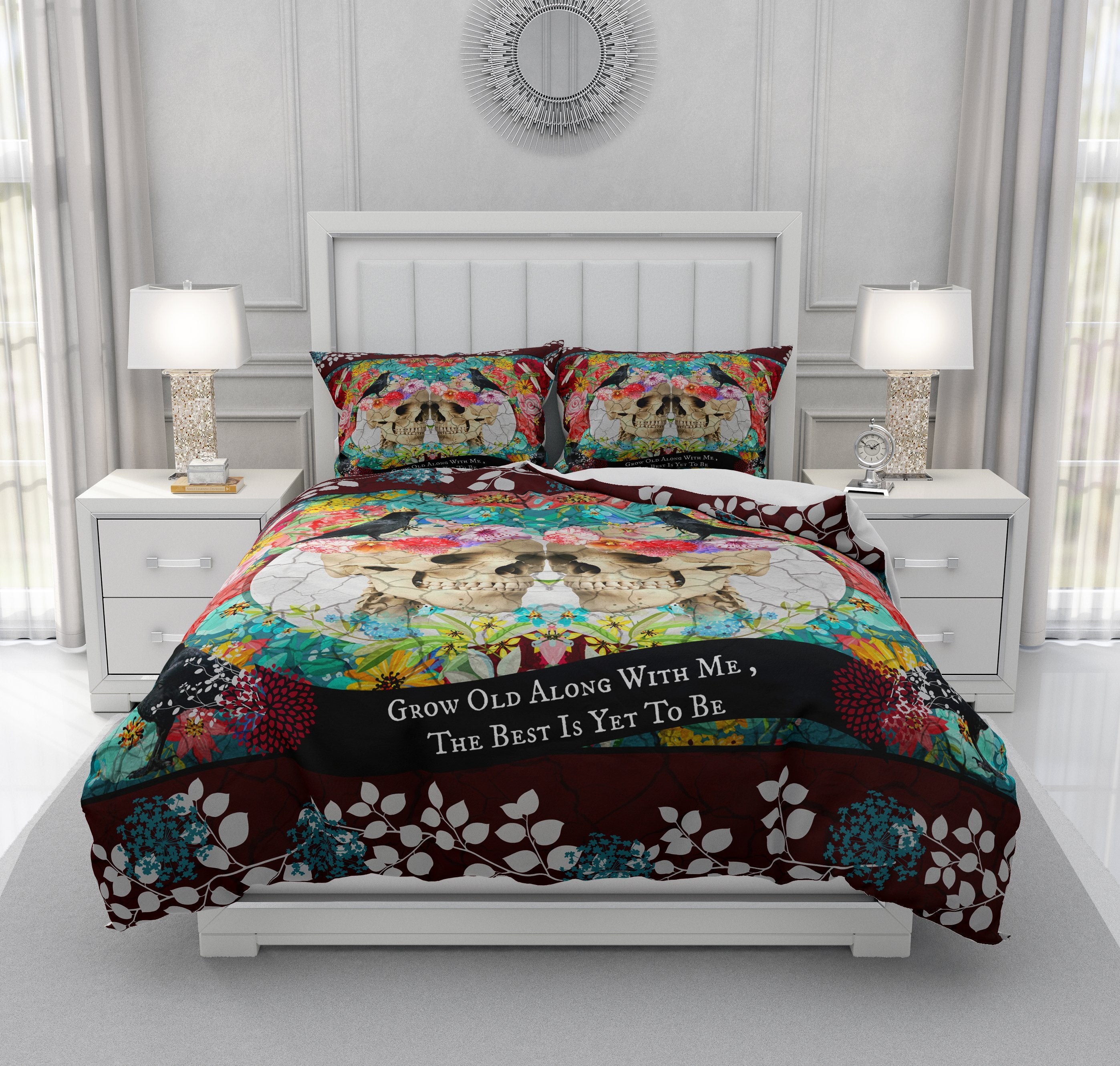 Grow Old With Me Couple Gothic Skull Bedding