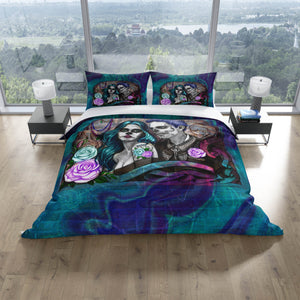 Blue Grafitti Skull Couple Bedding