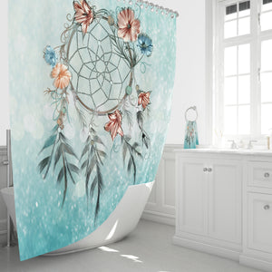 Soft Turquoise Dreamcatcher Shower Curtain