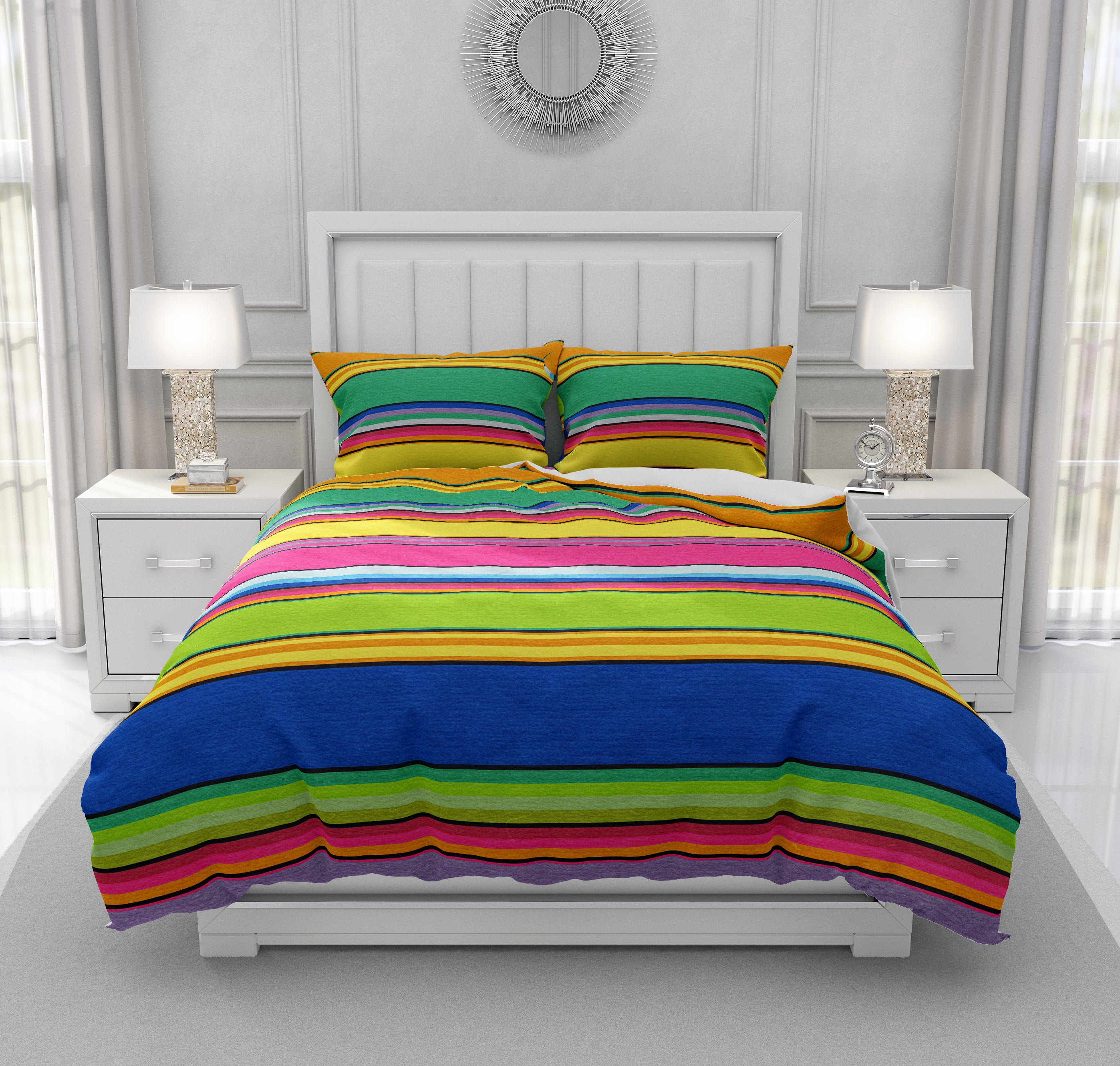 Fiesta Of Color Striped Bedding