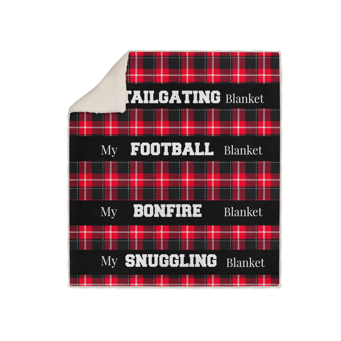Red Plaid Fleece Blanket, My Football, Tailgating, Bonfire Snuggling Blanket