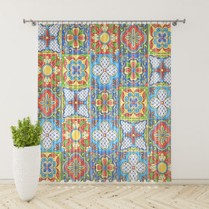 Colorful Talavera Window Curtains, Block Out or Sheer