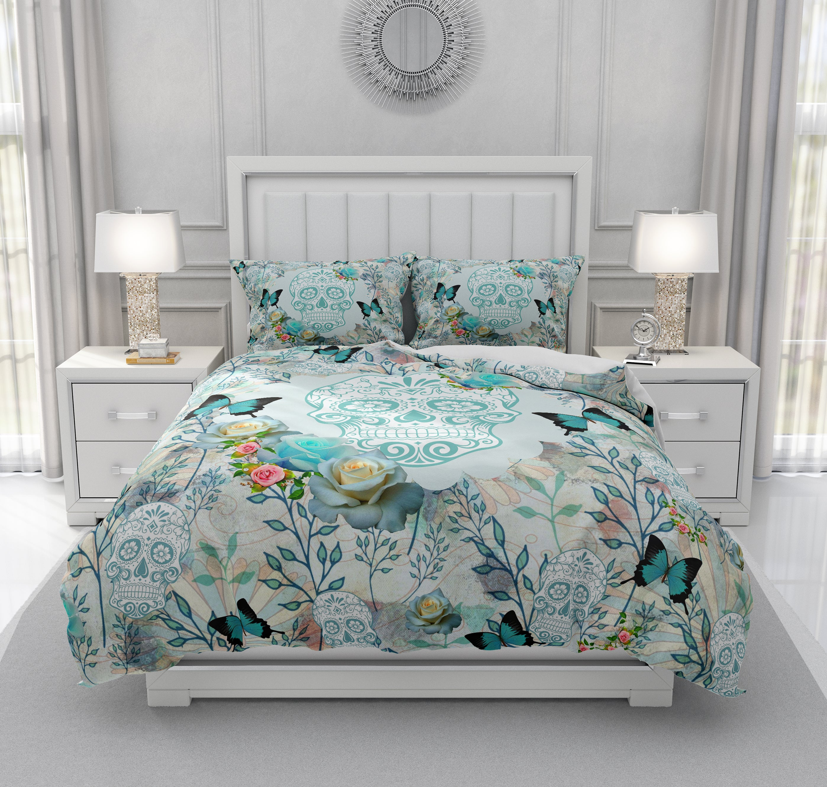 Teal Turquoise Butterfly and Roses Sugar Skull Bedding