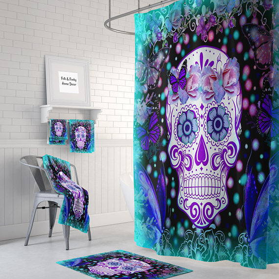 The Teal Frost Sugar Skull Shower Curtain By Folk N Funky