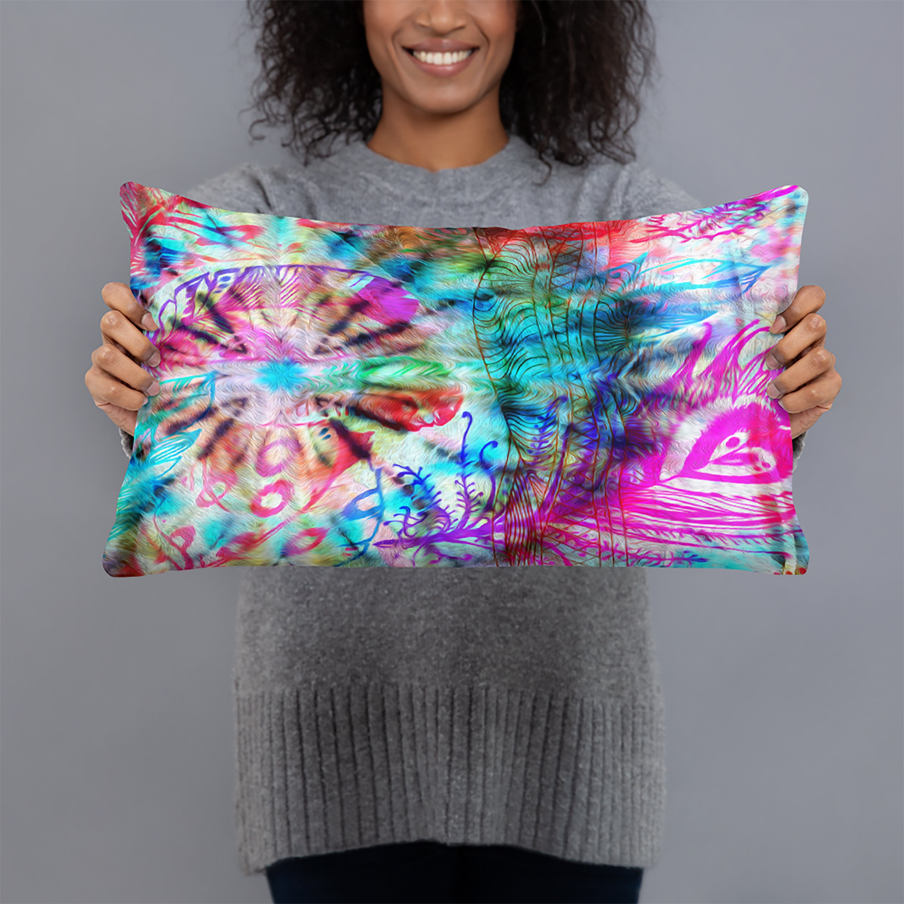 Tie Dye Boho Maximalist Throw Pillow