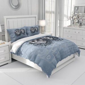 Skull Couple Vintage Blue Bedding