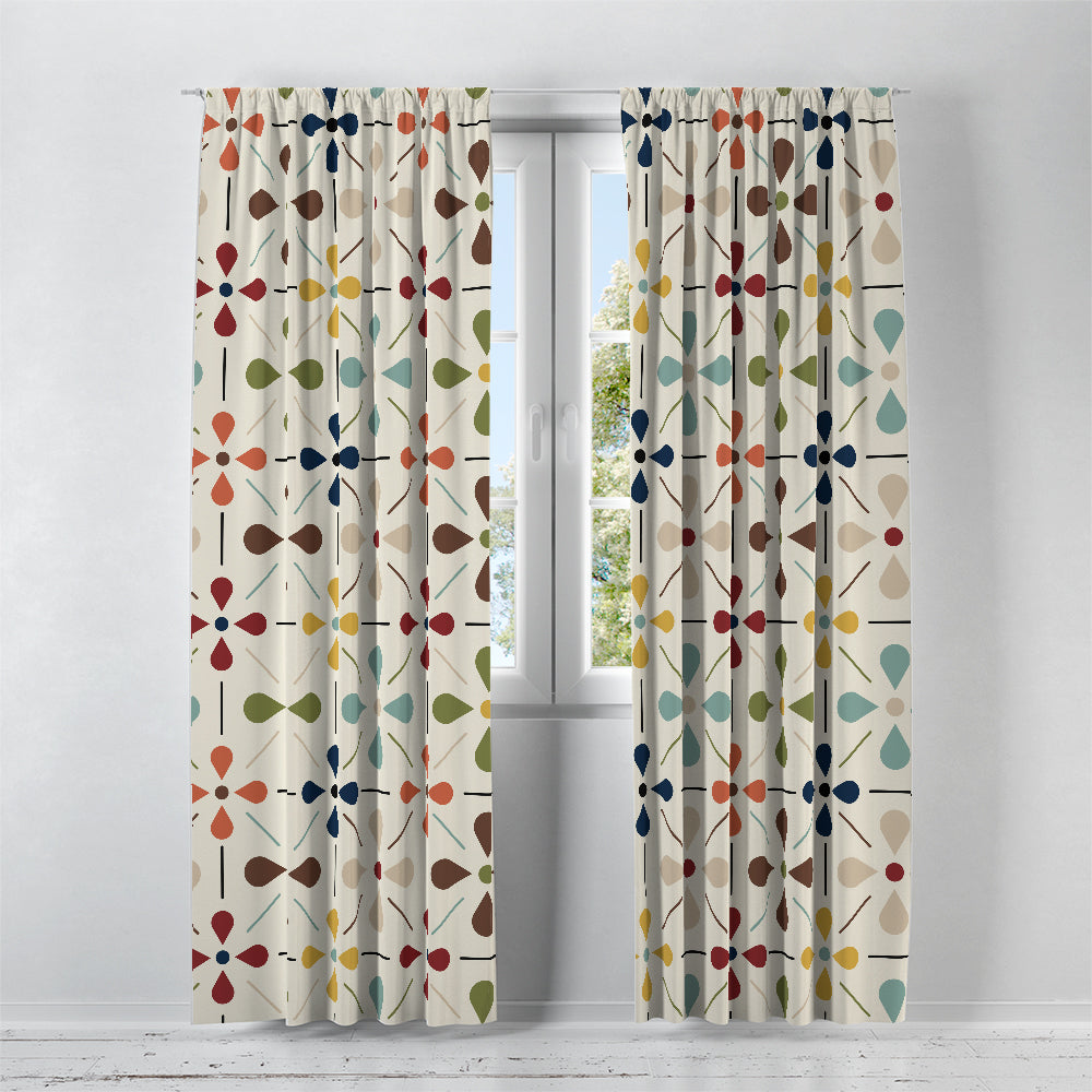 Mid Century Daisy  Window Curtains