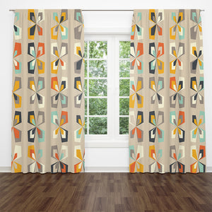 Mid Century Retro Floral Window Curtains