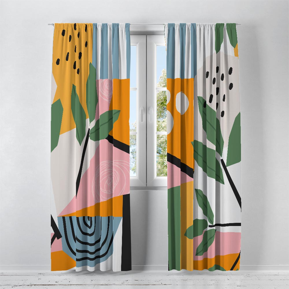 Pink Summer Abstract Window Curtains