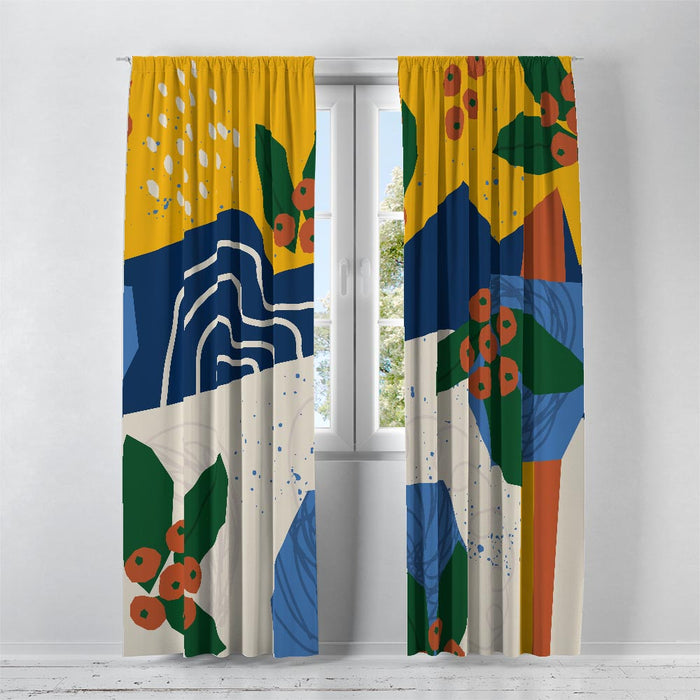 Modern Blues Abstract Window Curtains