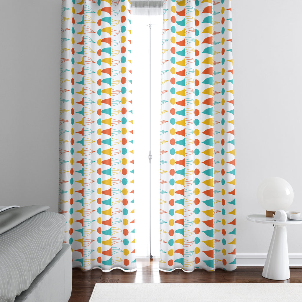 Mid Century Modern Theme Window Curtains