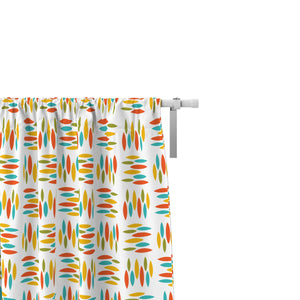 Mid-Century Hatch Pattern Window Curtains