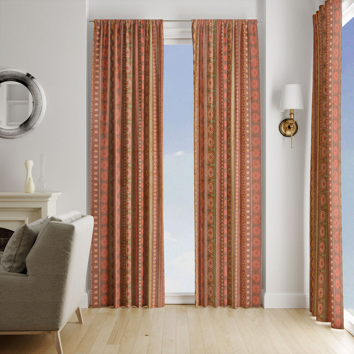 Brown Floral Boho Window Curtains