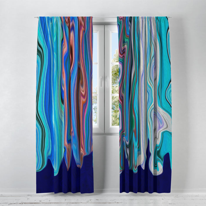 Blue Hippie Swirls Window Curtains