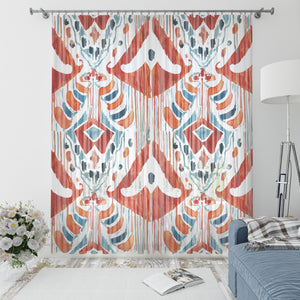 Red Boho Batik Window Curtains