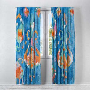Aqua Blue Shibori Window Curtains
