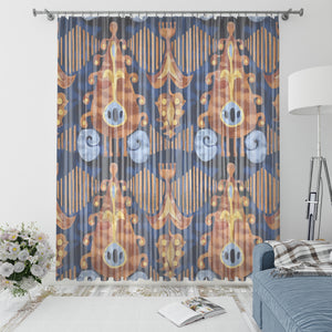 Navy Shibori Window Curtains