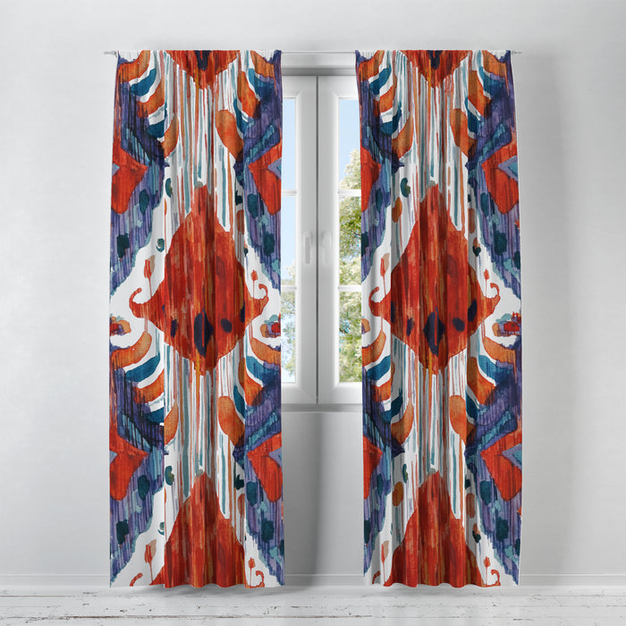 Bold Red and Navy Shibori Window Curtains