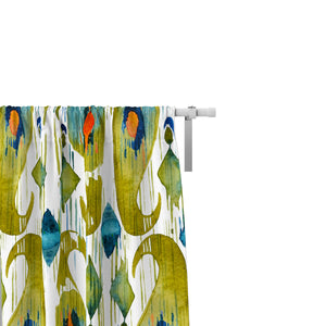 Green Tie Dye Paisley Shibori Window Curtains