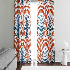 Red Boho Ikat Window Curtains