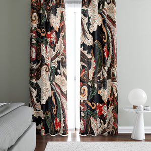 Elegant Black Paisley Window Curtains