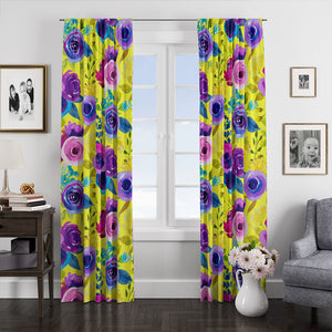 Ampela Purple Rose Floral Window Curtains