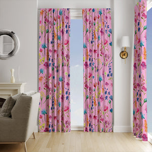 Willowy Wildflower Pink Floral Window Curtains
