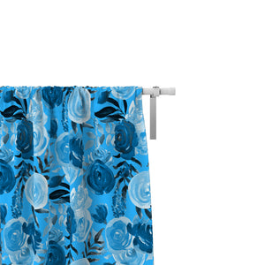 Bohemian Blue Roses Window Curtains