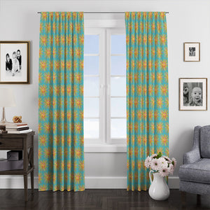 Tropical Sunburst Retro Theme Window Curtains