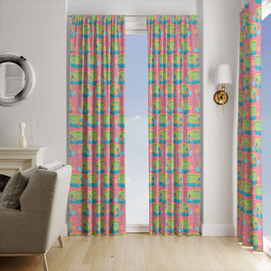 Tropical Fish Pink Window Curtains