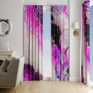 Pink Bohemian Swirl Marbled Window Curtains