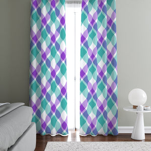 Purple Plaid Country Window Curtains